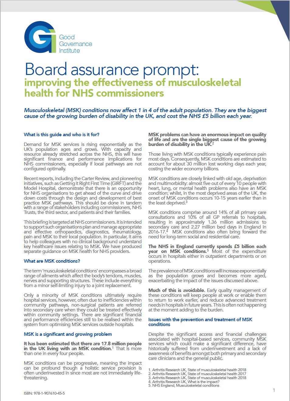 Board assurance prompt - MSK for NHS Commissioners