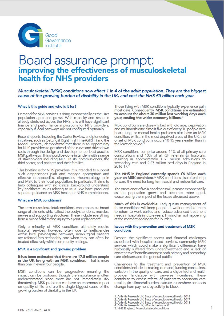 Board assurance prompt - MSK for NHS Providers