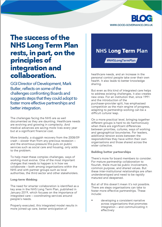 Success of the NHS Long Term Plan: Integration and collaboration