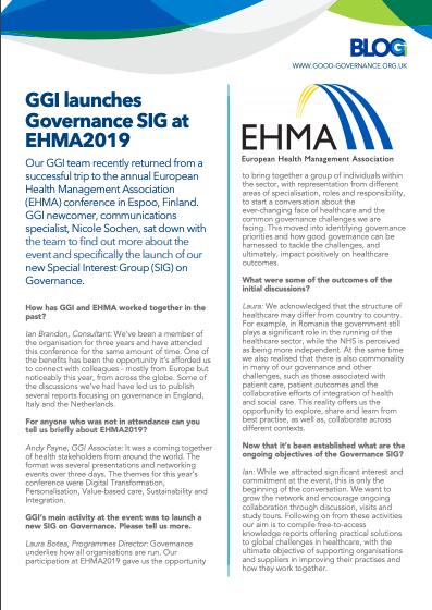 GGI launches Special Interest Group on Governance at EHMA 2019