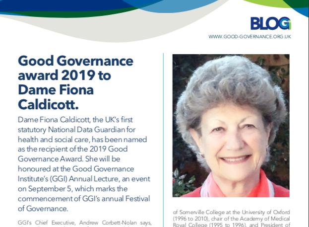 Good Governance Award 2019 to Dame Fiona Caldicott