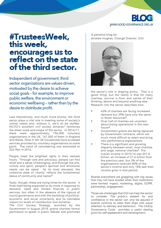 #TrusteesWeek, this week, encourages us to reflect on the state of the third sector