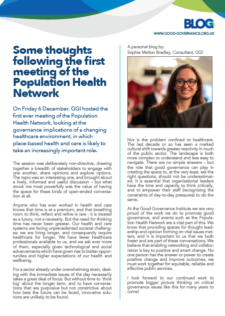 Some thoughts following the first meeting of the Population Health Network