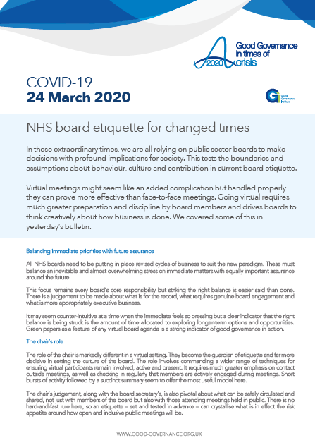 NHS board etiquette for changed times