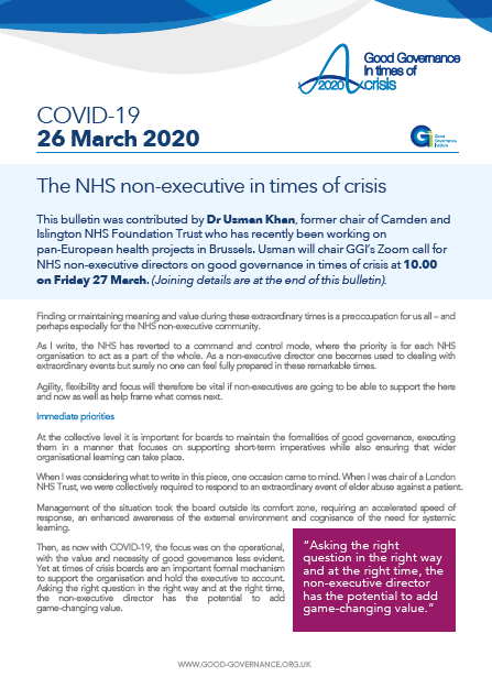 The NHS non-executive in times of crisis