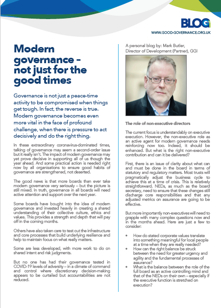 Modern governance – not just for the good times