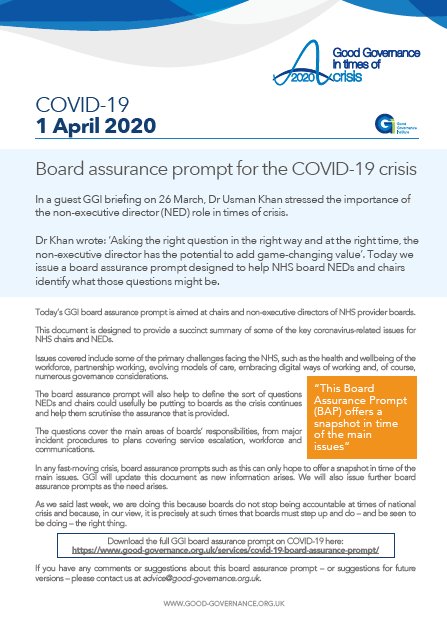 Board assurance prompt for the COVID-19 crisis