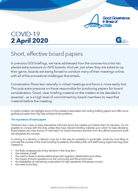 Short, effective board papers