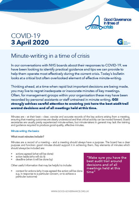 Minute-writing in a time of crisis