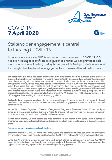 Stakeholder engagement is central to tackling COVID-19