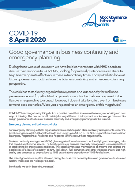 Good governance in business continuity and emergency planning