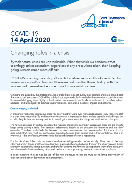 Changing roles in a crisis