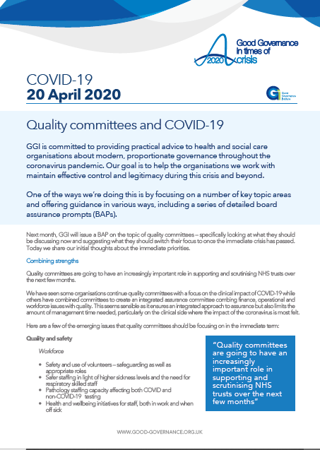 Quality committees and COVID-19