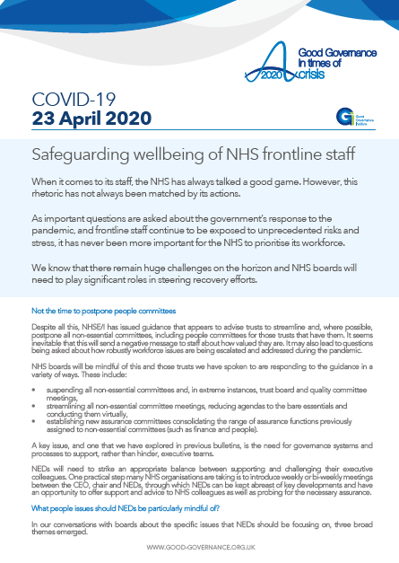 Safeguarding wellbeing of NHS frontline staff