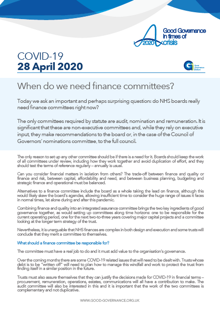 When do we need finance committees?