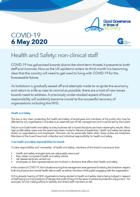 Health and Safety: non-clinical staff