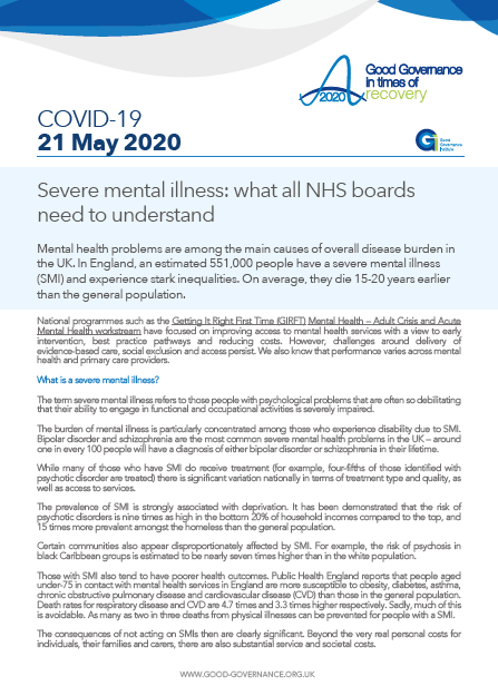 Severe mental illness: what all NHS boards need to understand