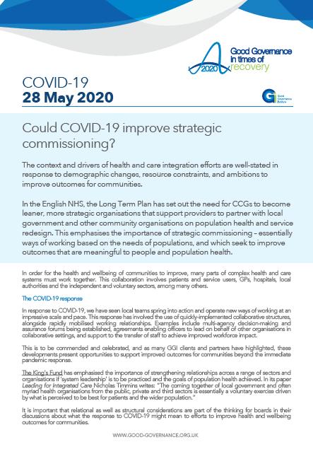 Could COVID-19 improve strategic commissioning?