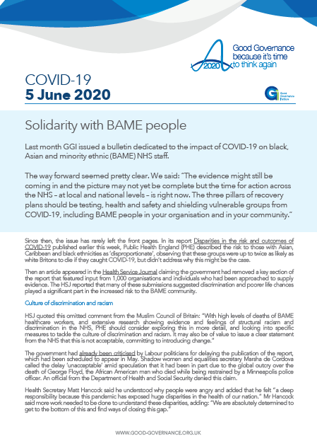 Solidarity with BAME people in our communities