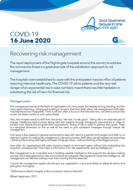 Recovering risk management