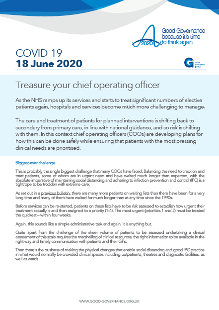 Treasure your chief operating officer