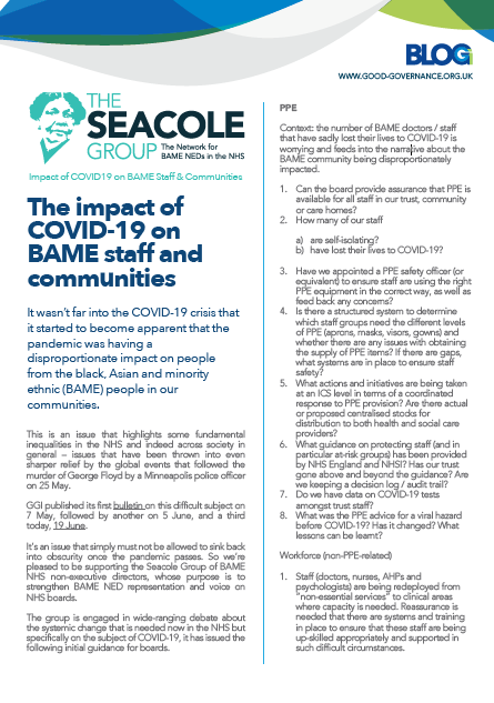 The impact of COVID-19 on BAME staff and communities