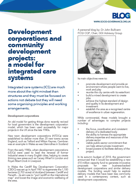 Development corporations and community development projects: a model for integrated care systems