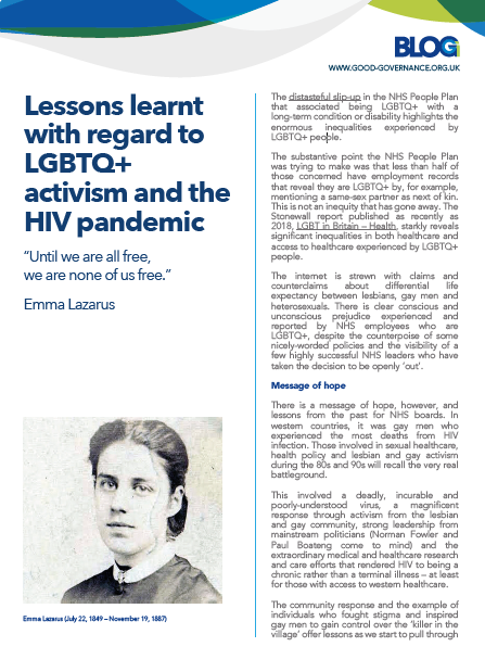Lessons learnt with regard to LGBTQ+ activism and the HIV pandemic