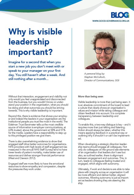 Why is visible leadership important?