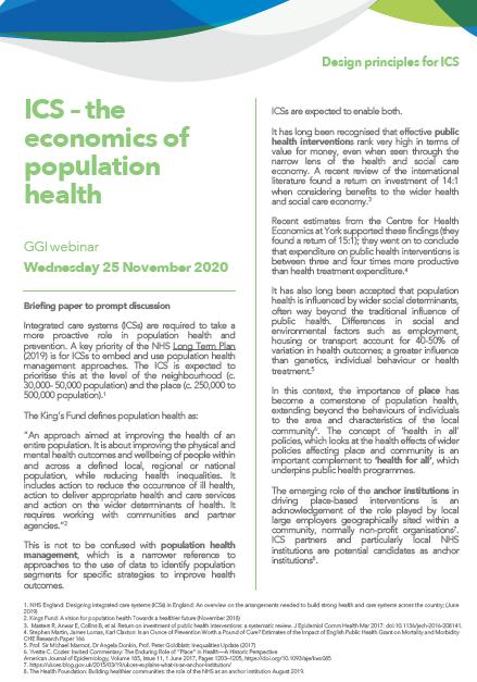 ICS – the economics of population health