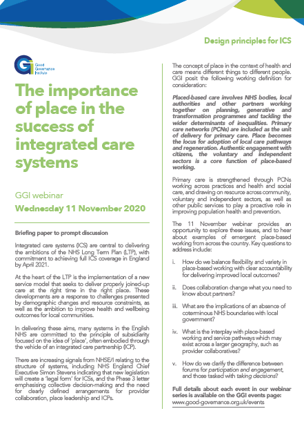 The importance of place in the success of integrated care systems