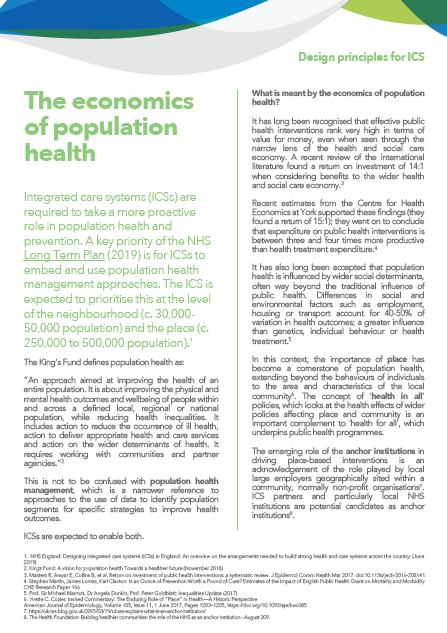 The economics of population health