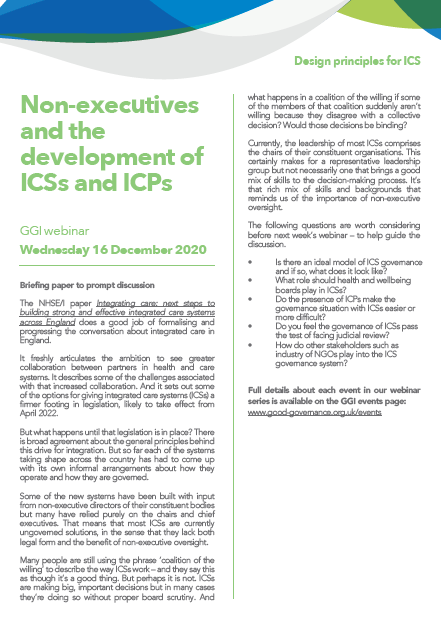 Non-executives and the development of ICSs and ICPs