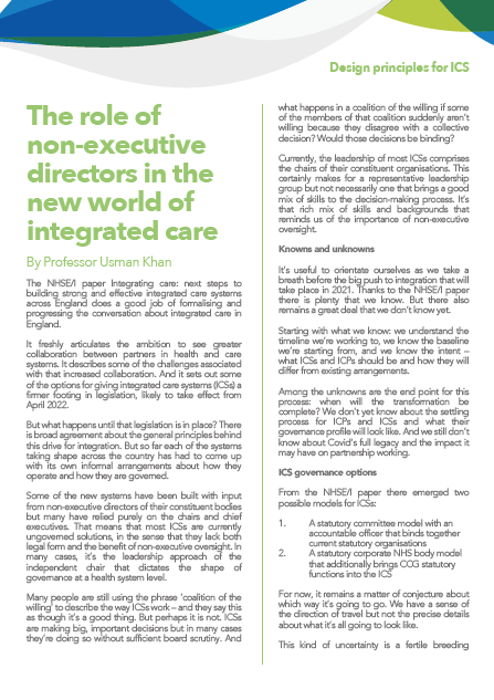The role of non-executive directors in the new world of integrated care