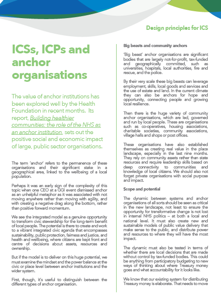 ICSs, ICPs and anchor organisations