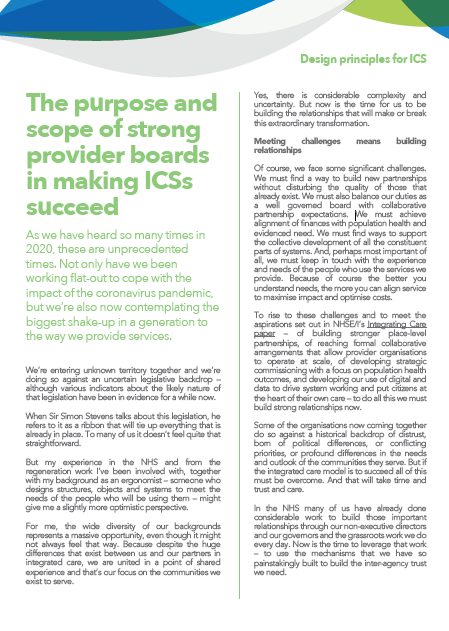 The purpose and scope of strong provider boards in making ICSs succeed