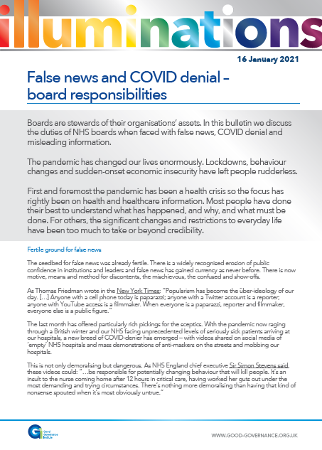 False news and COVID denial – board responsibilities