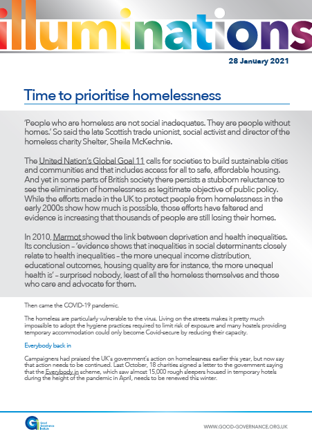 Time to prioritise homelessness