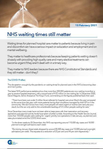 NHS waiting times still matter