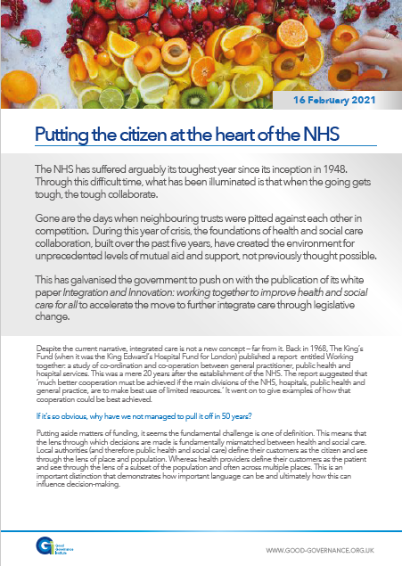 Putting the citizen at the heart of the NHS