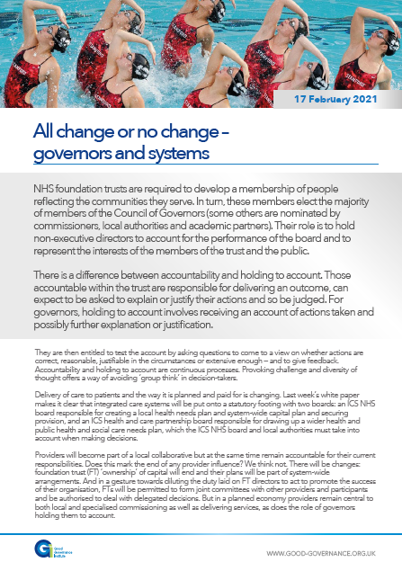 All change or no change – governors and systems