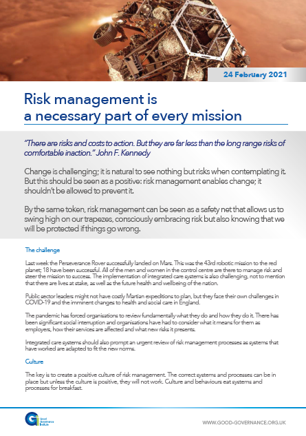 Risk management is a necessary part of every mission