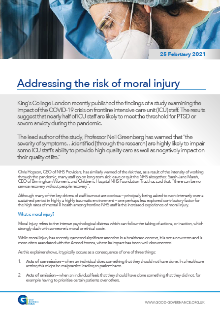 Addressing the risk of moral injury