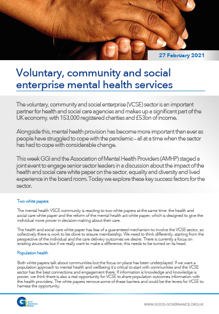 Voluntary, community and social enterprise mental health services