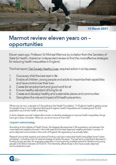 Marmot review eleven years on – opportunities
