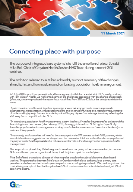 Connecting place with purpose