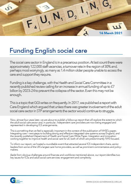 Funding English social care