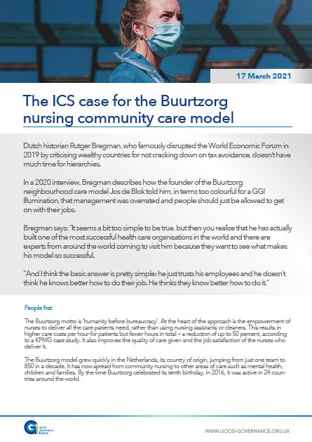 The ICS case for the Buurtzorg nursing community care model