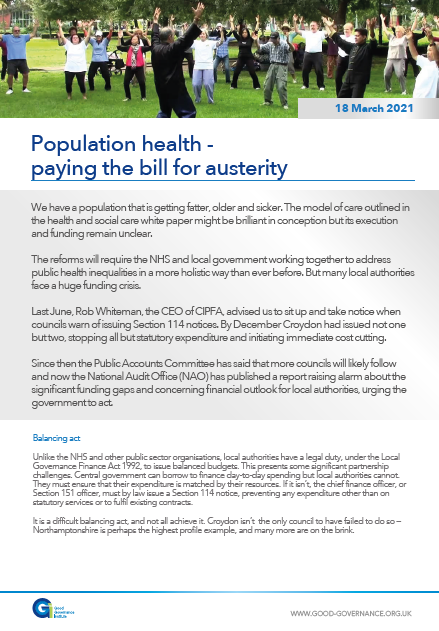Population health – paying the bill for austerity