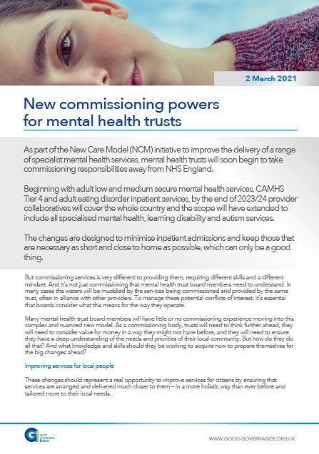New commissioning powers for mental health trusts